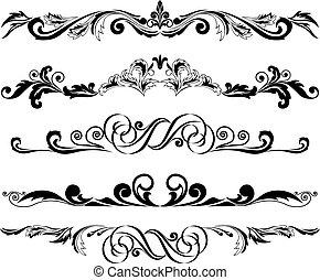 ornamentos, 2, horizontal, conjunto