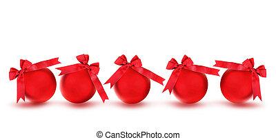 Ornamentos de árboles de navidad rojos