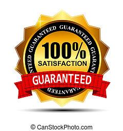 oro, 100%, guaranteed, ilustración, etiqueta, satisfacción, vector, cinta roja
