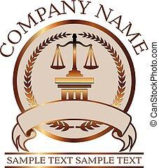 oro, abogado, justicia, -, escalas, sello, ley, columna, o, dórico
