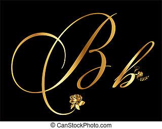oro, b, vector, carta