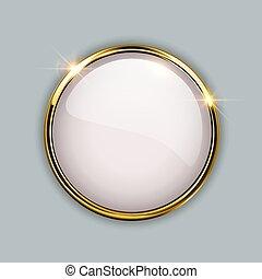 oro, brillante, botón, 3d