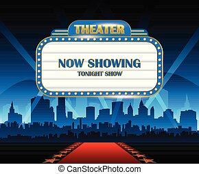Oro brillantemente teatro brillante signo retro cine neón con ciudad en el fondo