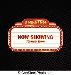Oro brillantemente teatro brillante signo retro cine neón