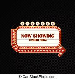 Oro brillantemente teatro reluciente letrero de motel de neón de cine retro
