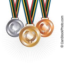 oro, bronce, plano de fondo, cintas, plata, medallas