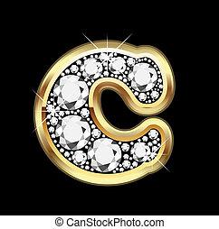 Oro C con vector de diamantes