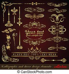 oro, calligraphic, diseñe elementos