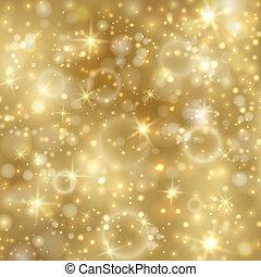 Oro con estrellas y luces brillantes
