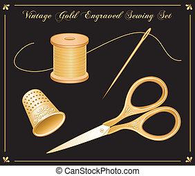 oro, conjunto, grabado, costura, vendimia
