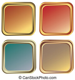 Oro, cuadros de plata y bronce (vector)