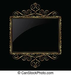 Oro decorativo y marco negro