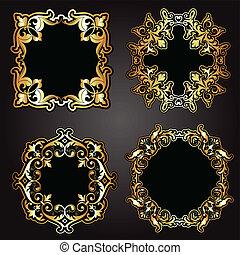 Oro decorativo y marcos negros
