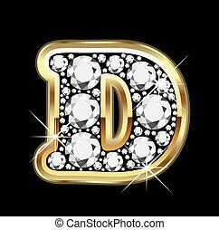 oro, diamantes, bling, vector, d