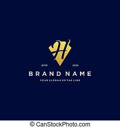 oro, diseño, diamante, h, logotipo, carta