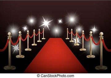 oro, eps10., realista, vector, diseño, plantilla, barreras, flashes., acontecimiento, alfombra roja