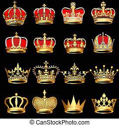 oro, fondo negro, coronas, conjunto