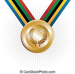oro, guirnalda, juegos, laurel, juegos olímpicos, medalla
