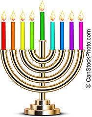 oro, hanukkah, menorah