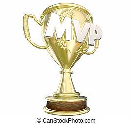 oro, jugador, más, mvp, premio, trofeo, valioso, ilustración, 3d