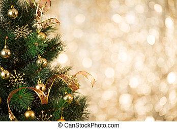 oro, luces de árbol, defocused, plano de fondo, adornado, navidad