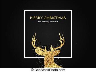 oro, navidad, cabeza, venado, plano de fondo, 0911, brillante