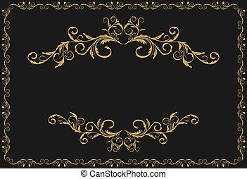 oro, patrón, ornamento, ilustración, lujo, fronteras