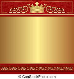 oro, plano de fondo, rojo