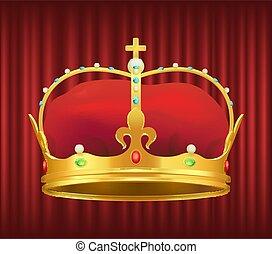 oro, real, rojo, corona, terciopelo, piedras preciosas