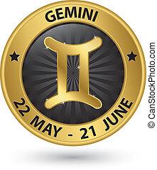 oro, señal, símbolo, ilustración, vector, zodíaco, géminis