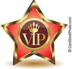 oro, vector, vip., estrella