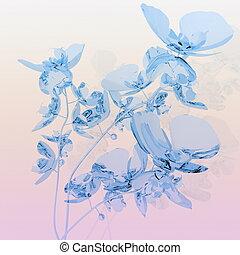 Orquídeas azules sobre fondo rosa