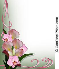 orquídeas, calla, frontera, lirios