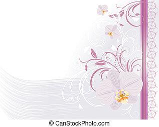Orquídeas con adornos florales. Carta