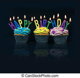 ortografía, cupcakes, afuera, cumpleaños, feliz