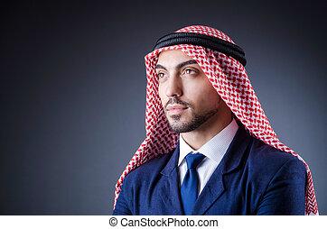 oscuridad, árabe, hombre de negocios, habitación, aislado