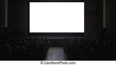 oscuridad, cine, vestíbulo, pantalla, viewers, blanco