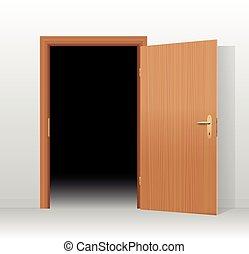 oscuridad, de par en par, puerta, habitación, abierto
