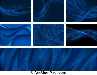 oscuridad, fondos, liso, ondas, conjunto, resumen, azul