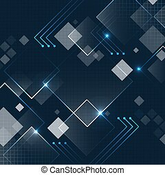oscuridad, futurista, resplandor, vector, cuadrado, plano de fondo, grid., resumen, tecnología, azul