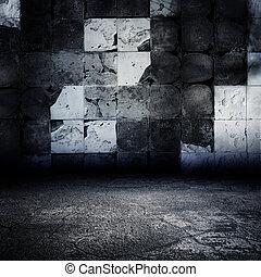 oscuridad, grungy, abandonado, embaldosado, room.
