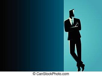 oscuridad, hombre de negocios, propensión, espacio sin expresión