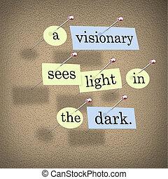 oscuridad, luz, visionario, ve
