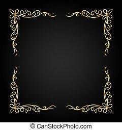 oscuridad, marco, oro, vector, fondo., vendimia, ilustración