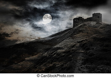 oscuridad, noche, fortaleza, luna