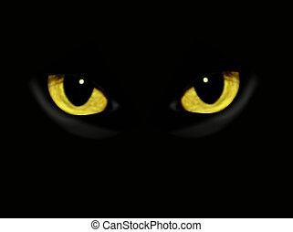 oscuridad, noche, gato, ojos