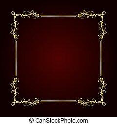 oscuridad, oro, vector, vendimia, fondo., marco, ilustración