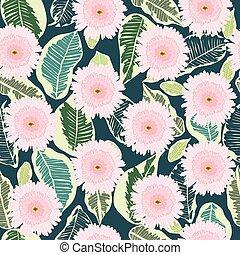 oscuridad, patrón, hojas, tropical, fondo., decortive, verde, flores, gerbera