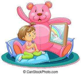 osito de peluche, escena, niños, mirando tele