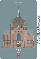 oslo, arquitectónico, iglesia, norway., trinidad, ciudades europeas, símbolos
